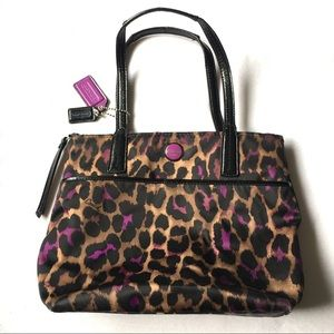 Coach Ocelot Print Purple Tote Purse